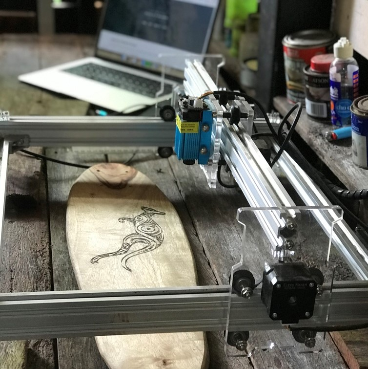 Laser engraving of a board