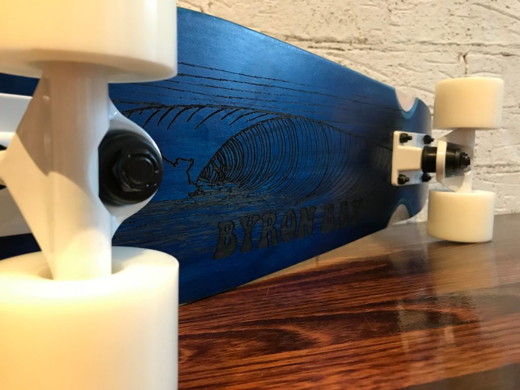 Blue design board laser engraved