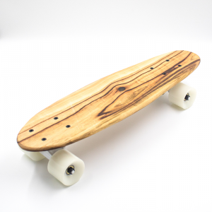 Handmade shortboard skateboard with wood from Byron Bay and white wheels