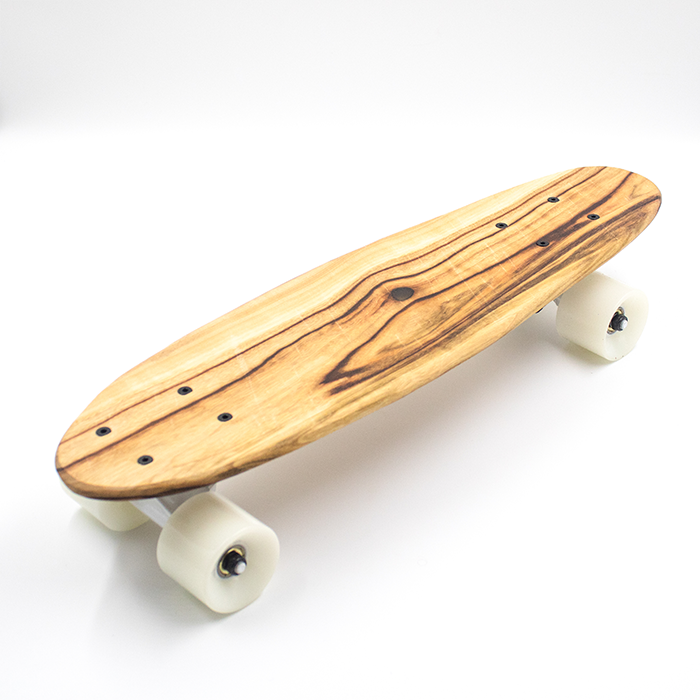 shortboard skateboard with white wheels